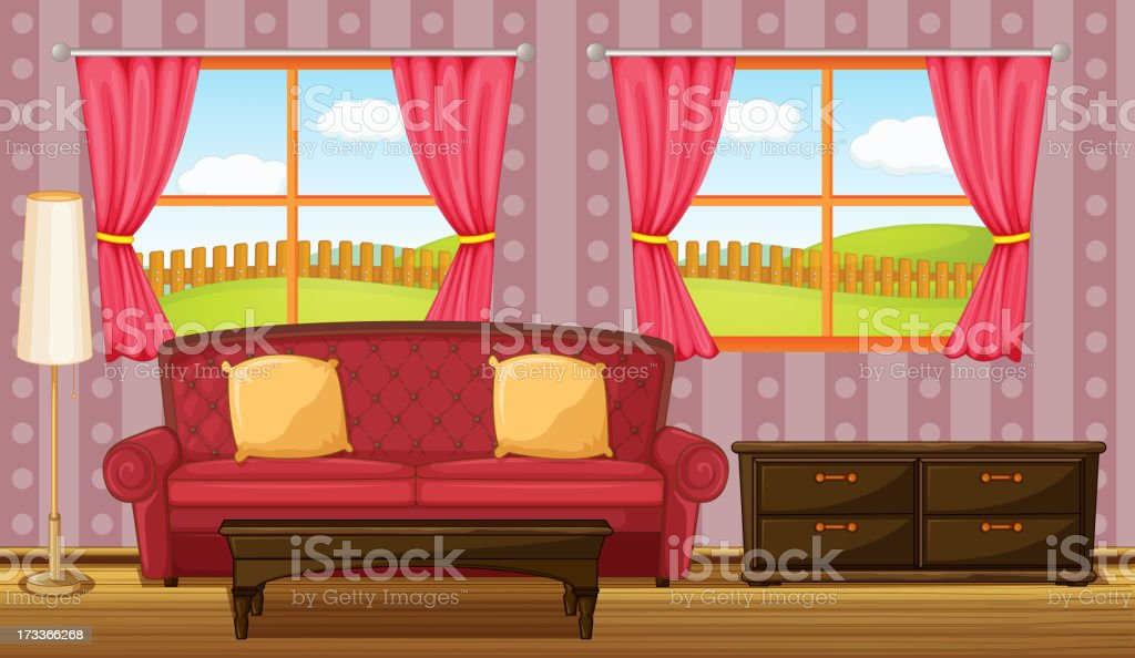 Red Sofa And Side Table stock vector art 173366268   iStock