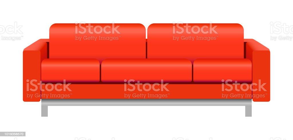 Rotes Sofa Mockup Realistischen Stil Stock Vektor Art Und Mehr