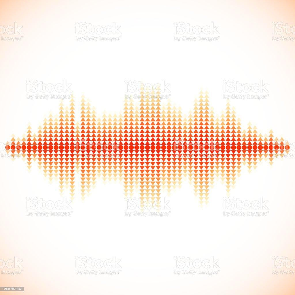 Red sound waveform with triangular arrows vector art illustration