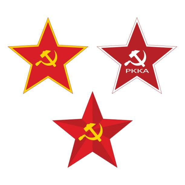 Red Soviet Star. Red Soviet Stars. Set on a white background. kremlin stock illustrations