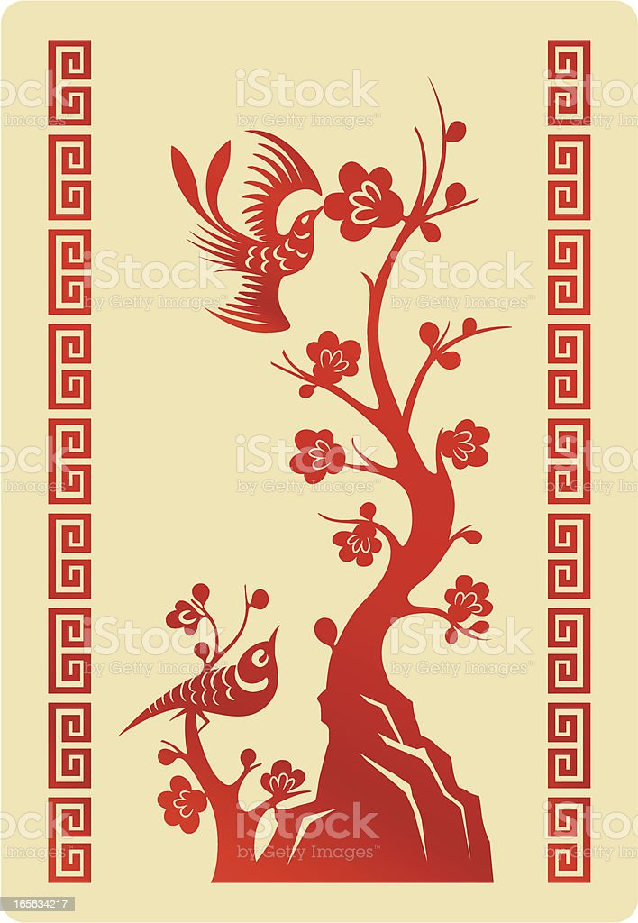 Red sparrows and cherry blossom: Chinese styles royalty-free stock vector art