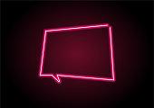 Red Speech Bubble Neon Light On Black Wall