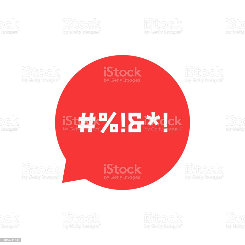 red speech bubble with abstract swearing red speech bubble with abstract swearing. concept of parental advisory explicit content, hashtag, cursing. isolated on white background. flat style trend modern design vector illustration Aggression stock vector