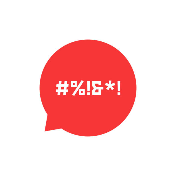 red speech bubble with abstract swearing red speech bubble with abstract swearing. concept of parental advisory explicit content, hashtag, cursing. isolated on white background. flat style trend modern design vector illustration lyric stock illustrations