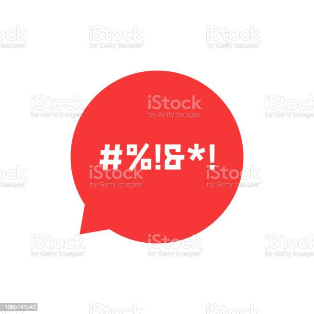 Red Speech Bubble With Abstract Swearing Stock Illustration - Download Image Now