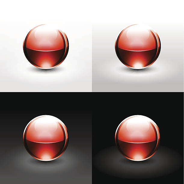 Red sphere glossy ball chrome icon web internet button vector art illustration