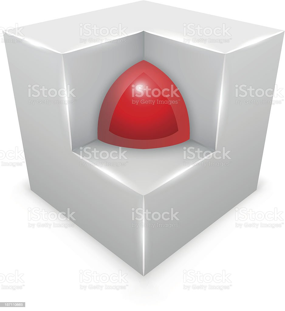 Red sphere inside cube royalty-free red sphere inside cube stock vector art & more images of abstract