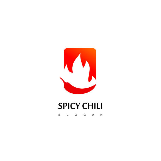 red spicy chili logo design template - food delivery stock illustrations