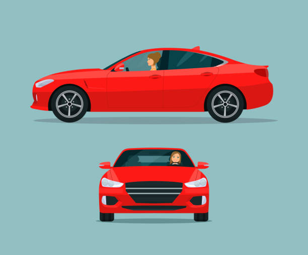 Red sport sedan two angle set. Car with driver woman side view and front view. Vector flat style illustration. vector art illustration