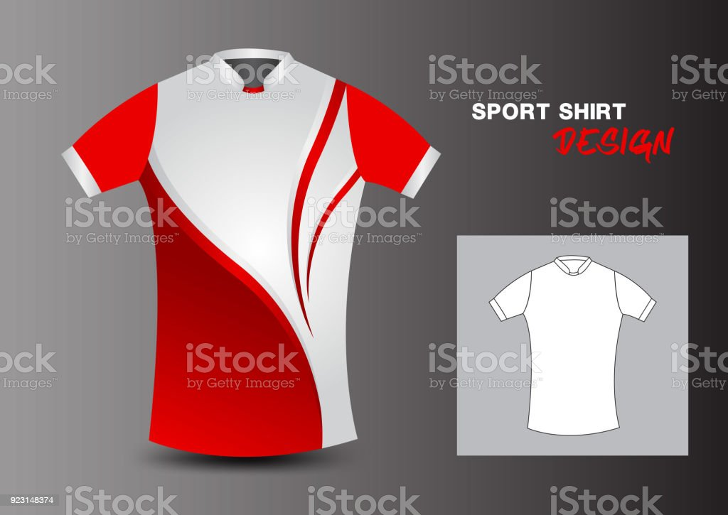 61110a20e1d6 Plantilla de diseño de camisa roja del deporte de fútbol, baloncesto,  fútbol jersey,