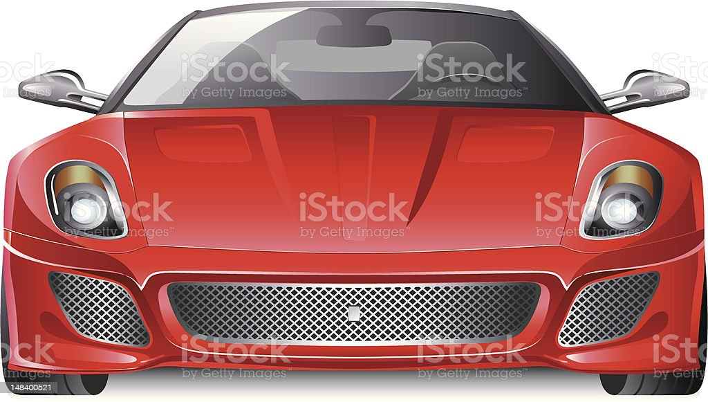 red sports car front view vector art illustration