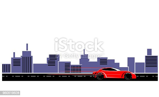 475358758 istock photo Red sports car in the highway vector 950519528