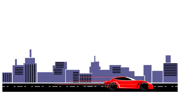 Red sports car in the highway vector vector art illustration