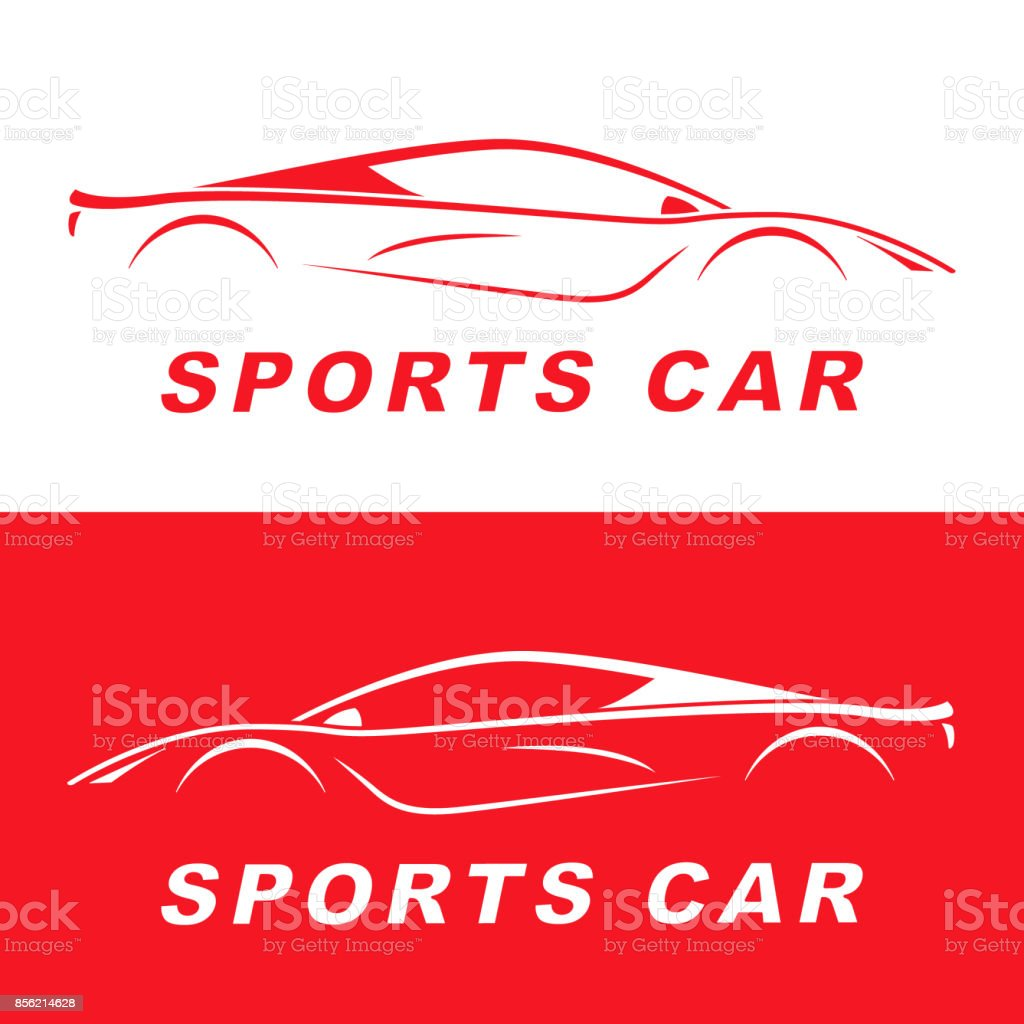 Red Sports Car Silhouette Symbol Design Race Automotive Vehicle