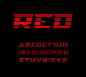 Red sports font. Wide letters with dynamical horizontal stripes. Vector alphabet characters for sport and racing. Modern typography design