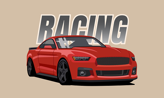 red sports muscle car Vector illustration for sticker, poster