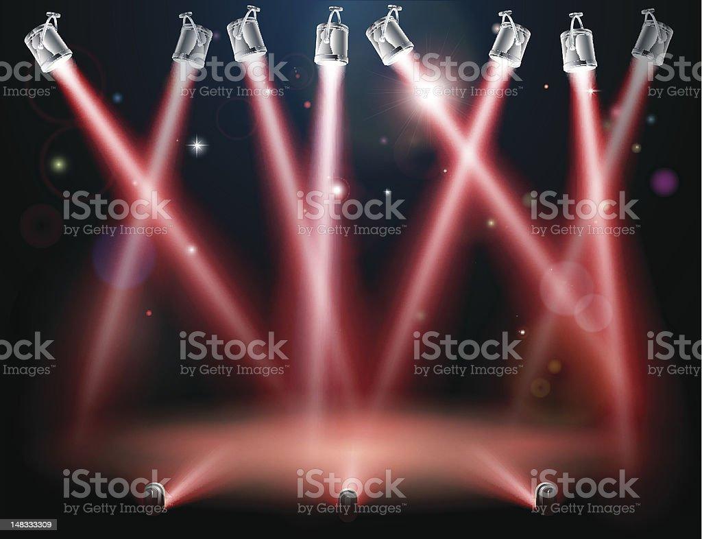 Red spotlights background vector art illustration