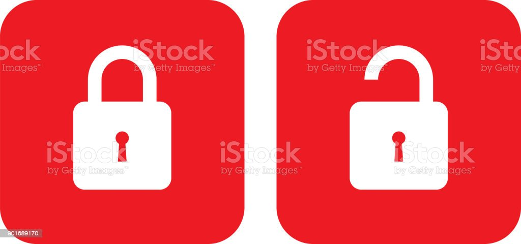 Red Square Lock Unlock Icons vector art illustration