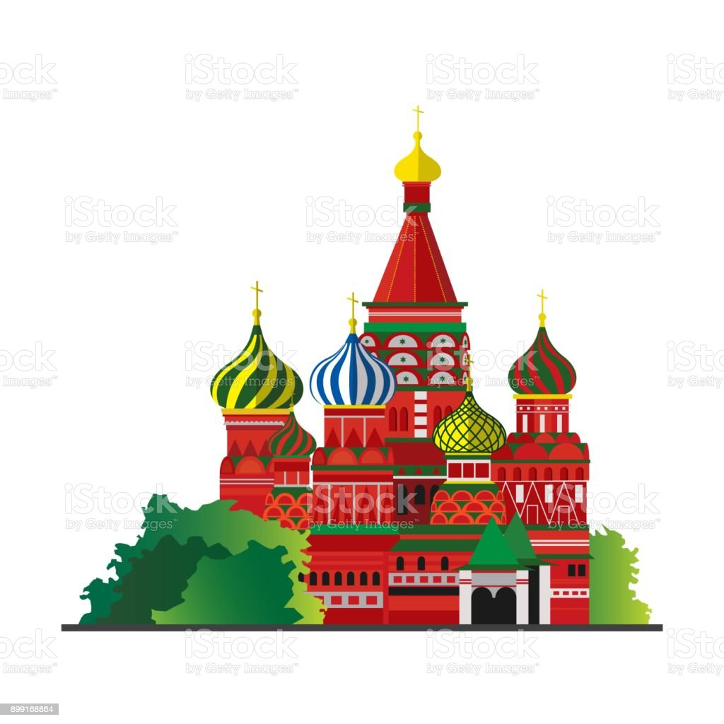 Red Square Moscow Russia vector art illustration