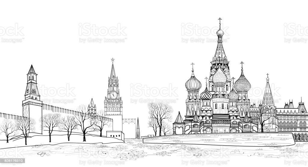Blick auf Roter Platz, Moskau, Russland. Reisen Russland skyline – Vektorgrafik