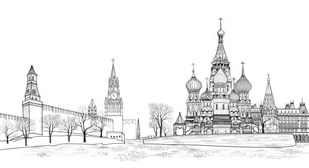 Red square view, Moscow, Russia. Travel Russia skyline Red square view, Moscow, Russia.  Travel Russia vector illustration. Russian famous place. Kremlin city view from Moscow river. St Basil cathedral, towers and wall citsycape kremlin stock illustrations