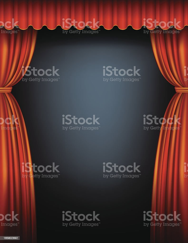 Red Stage Curtain royalty-free stock vector art