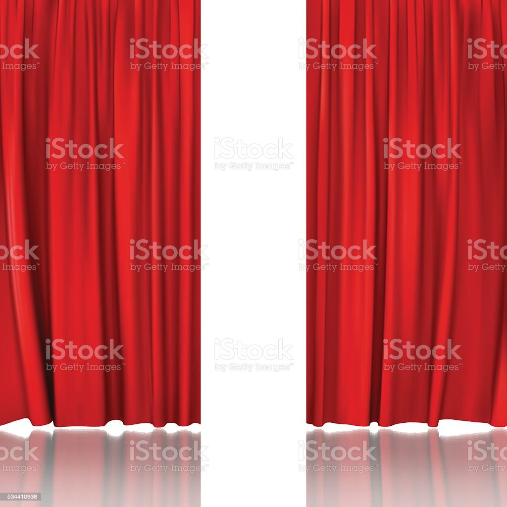 red stage curtain vector art illustration