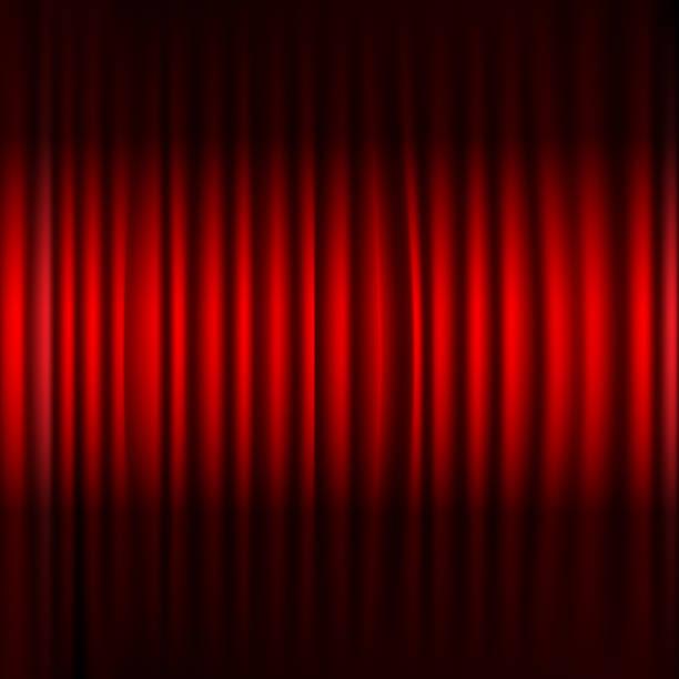 illustrazioni stock, clip art, cartoni animati e icone di tendenza di red stage curtain with black border - sipario