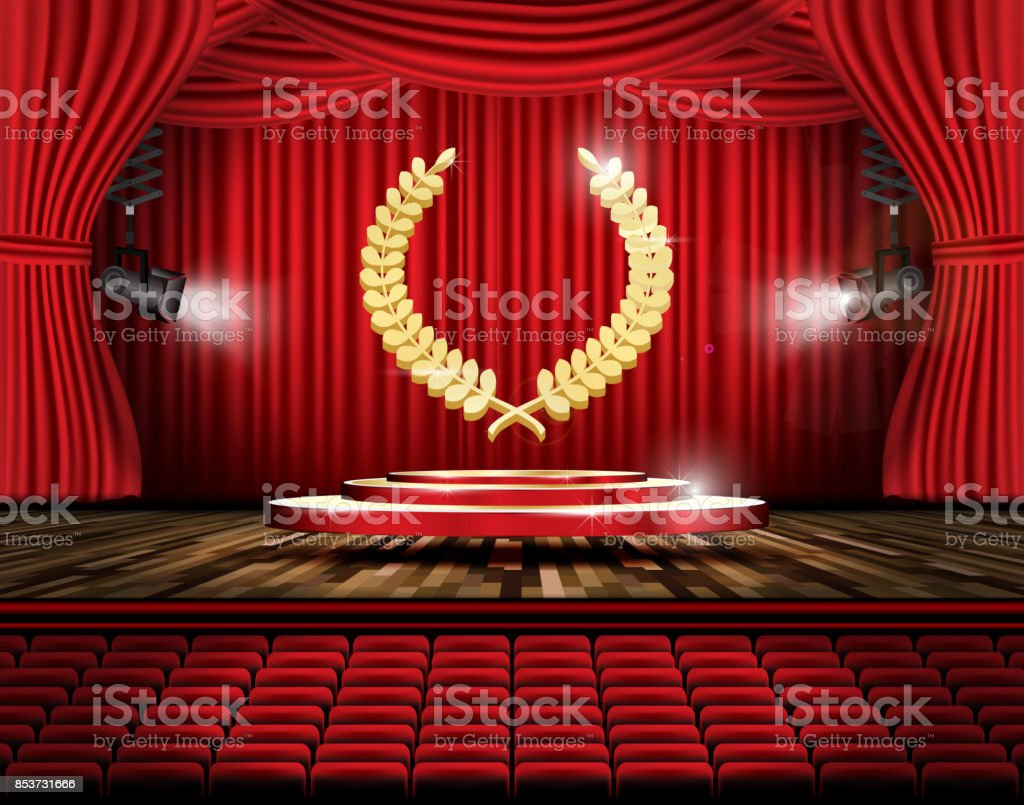 Red Stage Curtain With Spotlights Seats And Golden Laurel Wreath