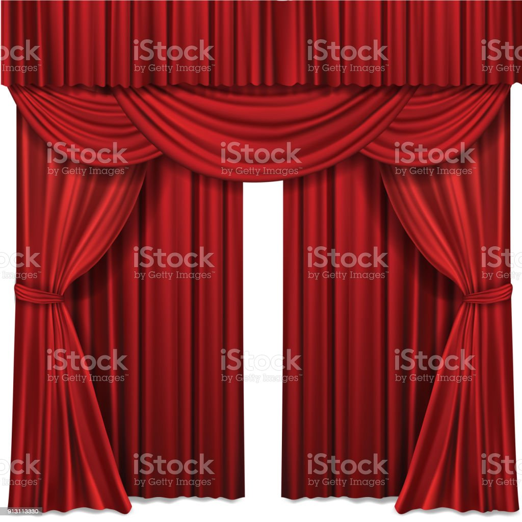 Red stage curtains realistic vector illustration for theater or opera scene performance royalty-free red stage curtains realistic vector illustration for theater or opera scene performance stock illustration - download image now