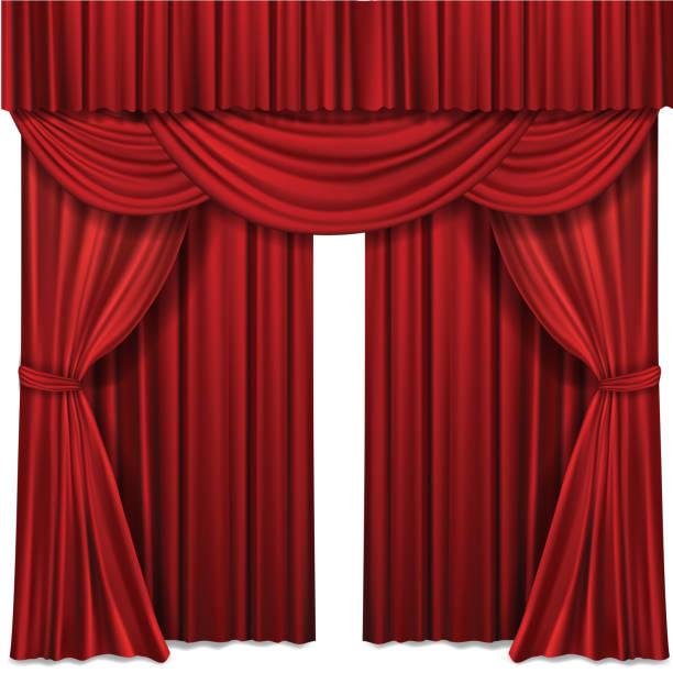 レッド ステージ カーテン劇場またはオペラのシーンのパフォーマンスのための現実的なベクトル図 - ステージ点のイラスト素材/クリップアート素材/マンガ素材/アイコン素材