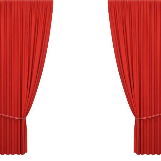 stockillustraties, clipart, cartoons en iconen met rode podiumgordijnen - gordijn