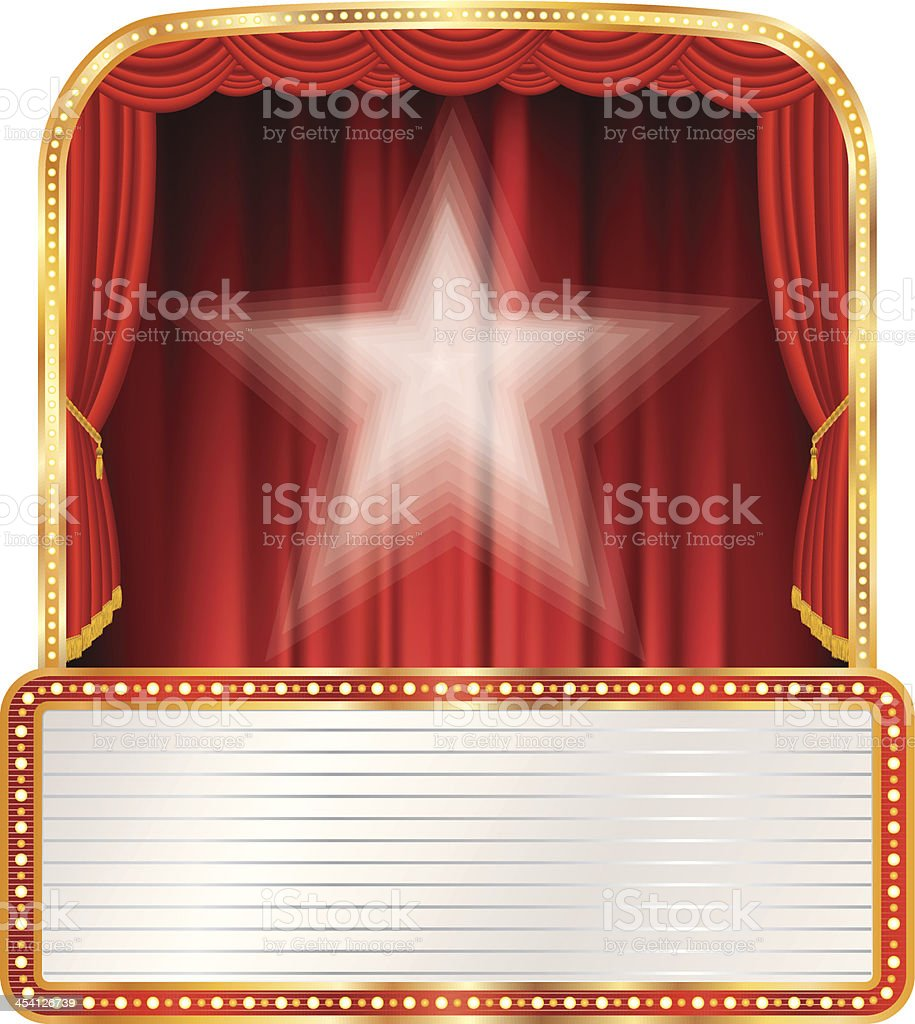 red stage white star royalty-free stock vector art