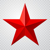 Red star 3d icon with shadow on transparent background