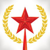Red star and gold laurel wreath. Vector 3d illustration. Victory day card.