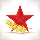 Red star and gold laurel wreath.