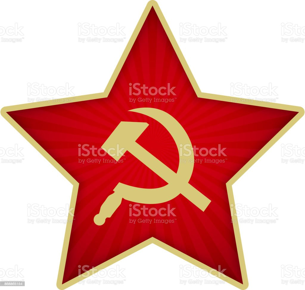 Red Star of the Soviet army with Sickle and Hammer vector art illustration