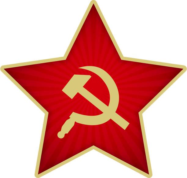 ilustraciones, imágenes clip art, dibujos animados e iconos de stock de estrella roja del ejército soviético con la hoz y el martillo - rusia