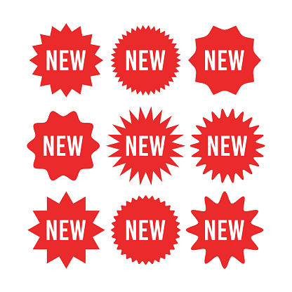 Red starburst sticker with new sign set - collection of circle sun and star burst badges and labels with text about new product. Retail promotion red sticker and tag of circular form.
