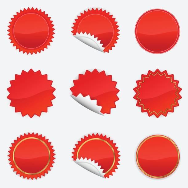 illustrazioni stock, clip art, cartoni animati e icone di tendenza di red starbursts set - zigzag