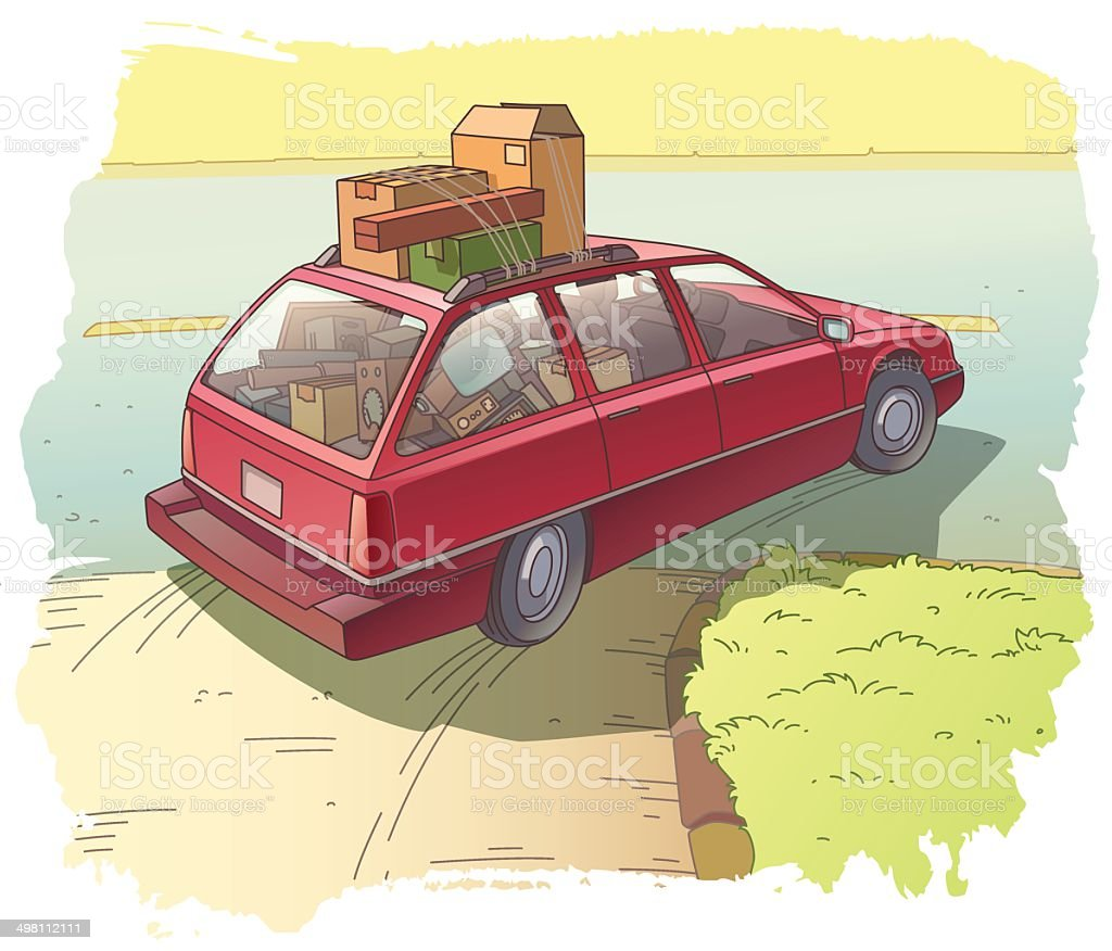 Red Station Wagon with a Cargo vector art illustration