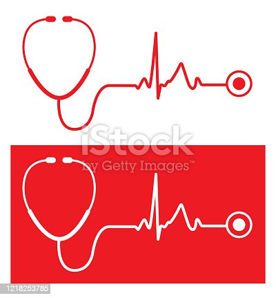 Vector illustration of two red stethoscope icons with pulse traces.