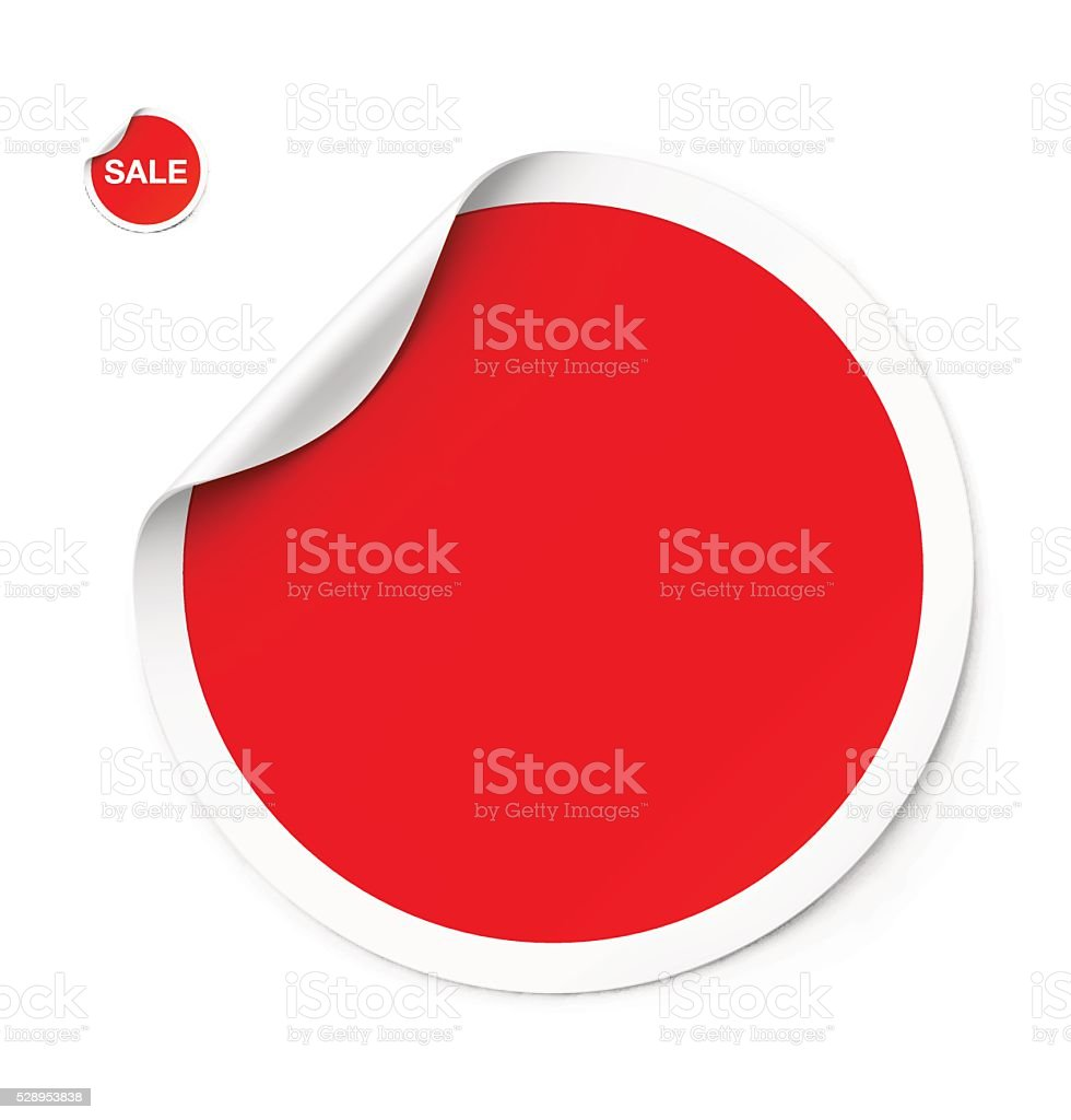 Red sticker with curled corner. Vector illustration vector art illustration