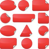 Set of realistic red stickers with wrapped edges (vector). Used Global color.