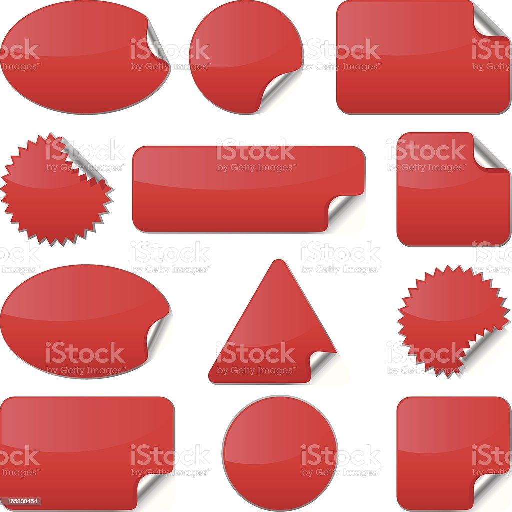 Red Stickers (Vector) vector art illustration