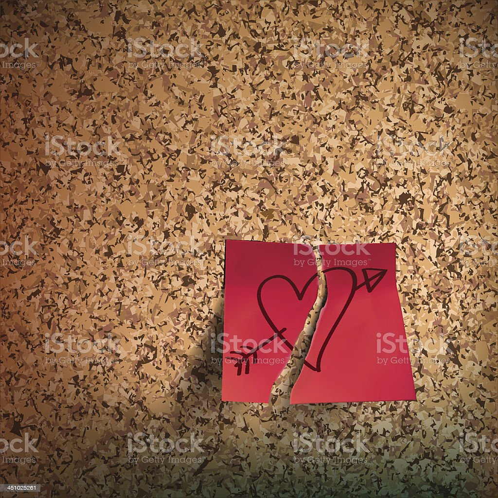 Red sticky note with heart sketched on cork board royalty-free stock vector art