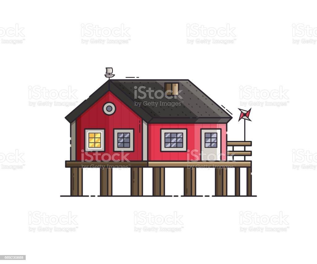 Red stilt house vector illustration illustration