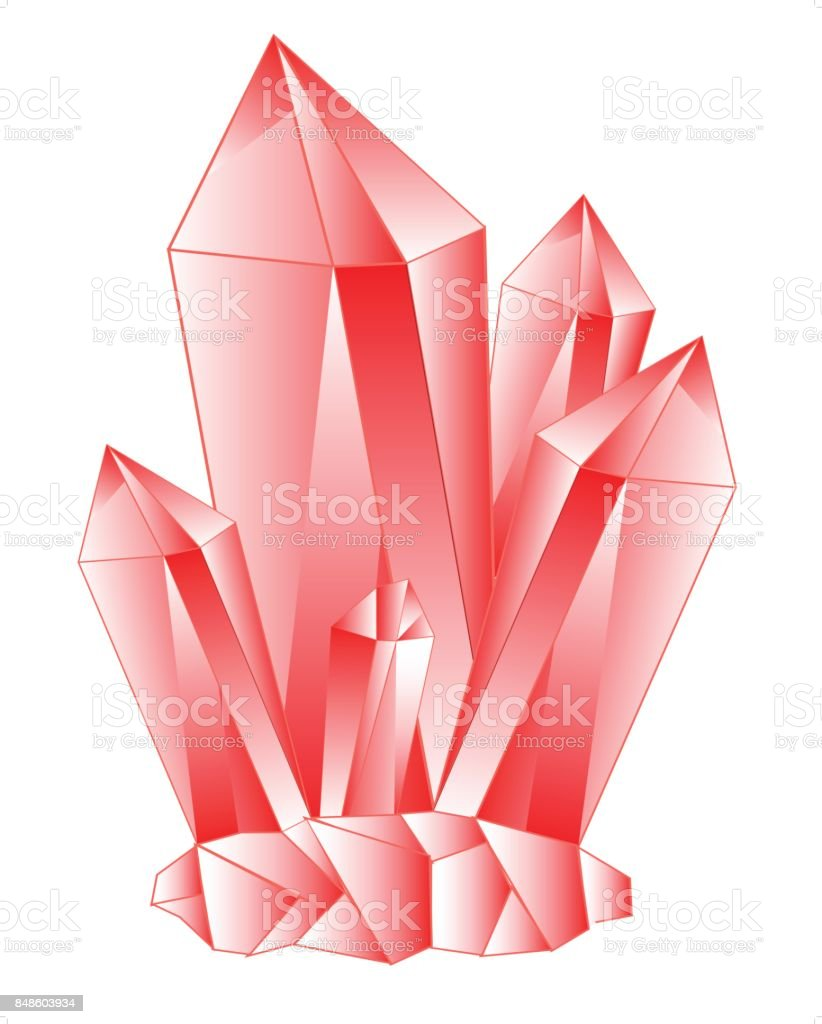 Red stone crystal vector art illustration