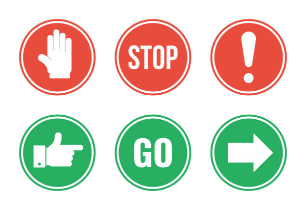 red stop and green go round road signs set red stop and green go round road signs set stop stock illustrations