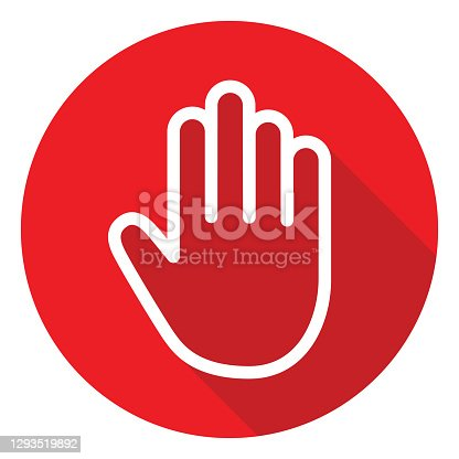 istock Red Stop Hand Icon 1293519892